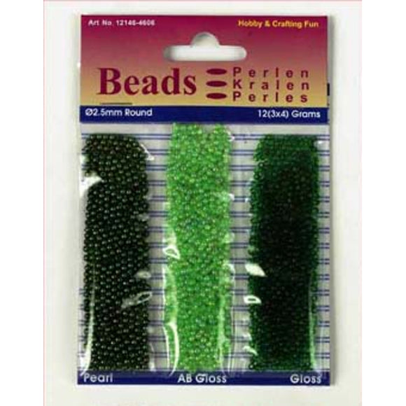 Acrylic Seed Bead Trio Set Green