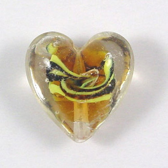 Lampwork Heart Bead 18mm Amber