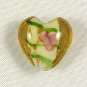 Lampwork Heart Bead 15mm Amber