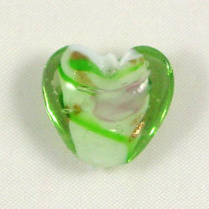 Lampwork Heart Bead 15mm Green
