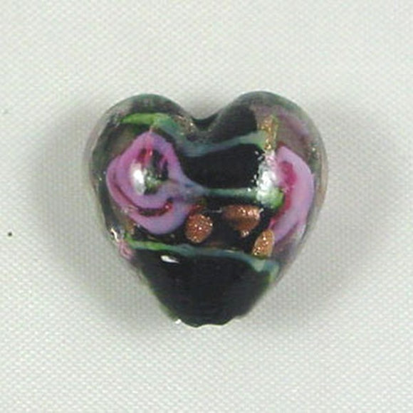 Lampwork Heart Bead 15mm Black