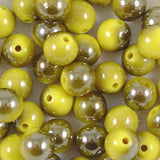 10mm Round Acrylic Part Metallic Beads Pack of 50