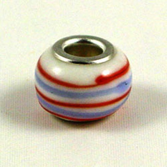 Charm Beads Red/Blue Stripe
