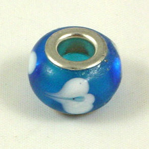 Charm Beads Blue/White Swirl