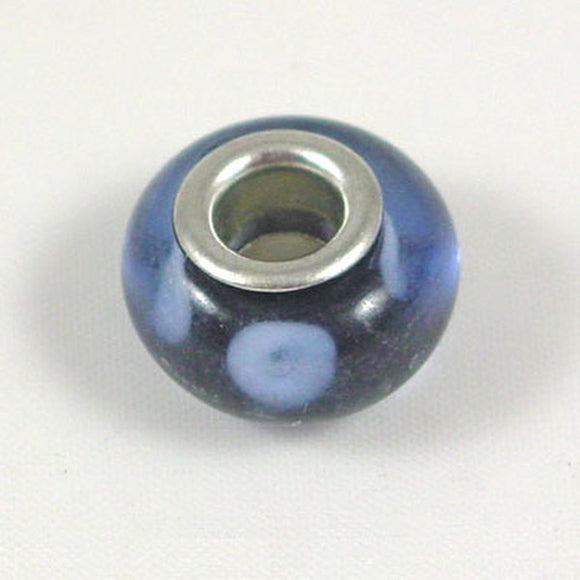 Charm Beads Blue/White Dots