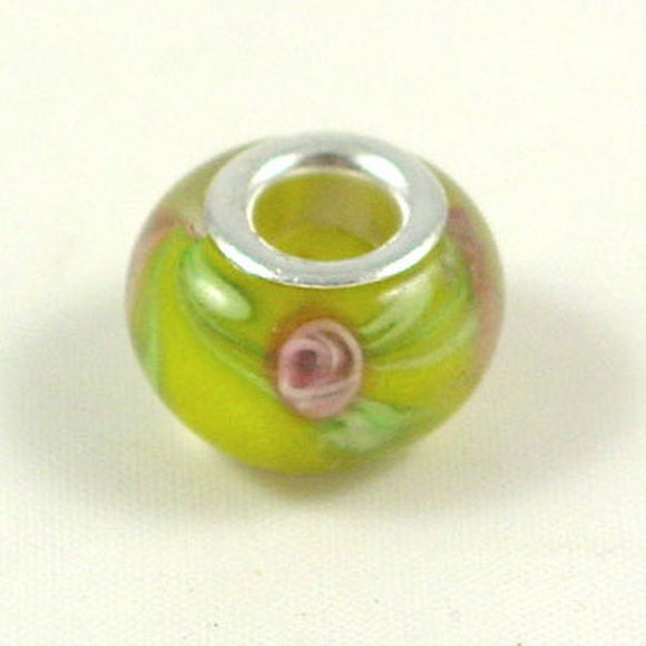 Charm Beads Yellow/Pink Spots