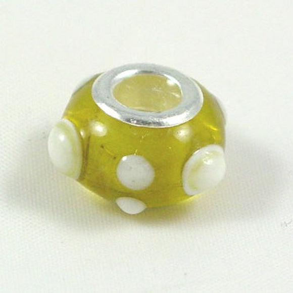 Charm Beads Yellow/White Spots