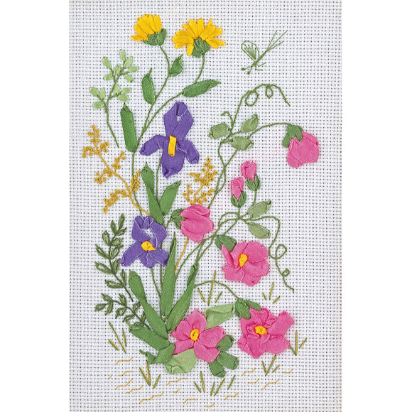 Spring Meadow Ribbon Embroidery Kit from Panna