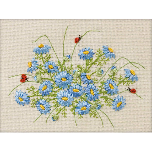 Cornflowers Ribbon Embroidery Kit from Panna