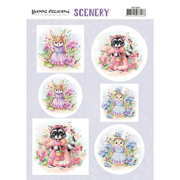 Push Out Scenery - Yvonne Creations - Aquarella Lovely Animals