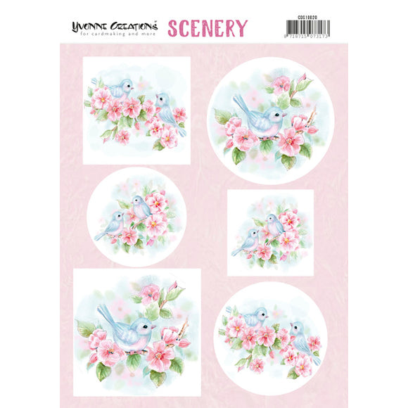 Push Out Scenery - Yvonne Creations - Aquarella Pink Blossom