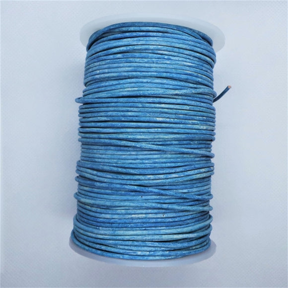 2mm Round Leather Cord in Distressed Colours