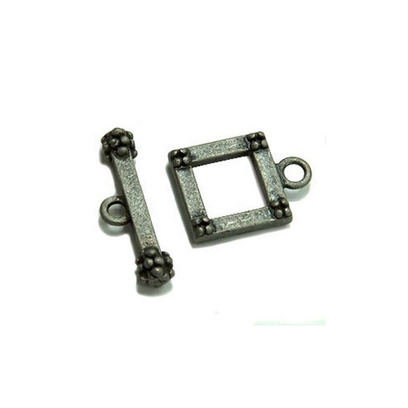 Square Toggle Clasp 14mm Antique Gold or Antique Silver Plate pack of 4