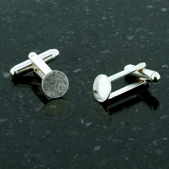 Pad Cufflinks 9mm Gold or Silver Plate Pack of 10
