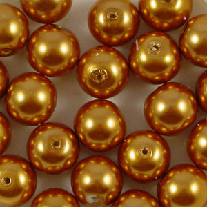 12mm Round Glass Pearl Beads Pack of 50