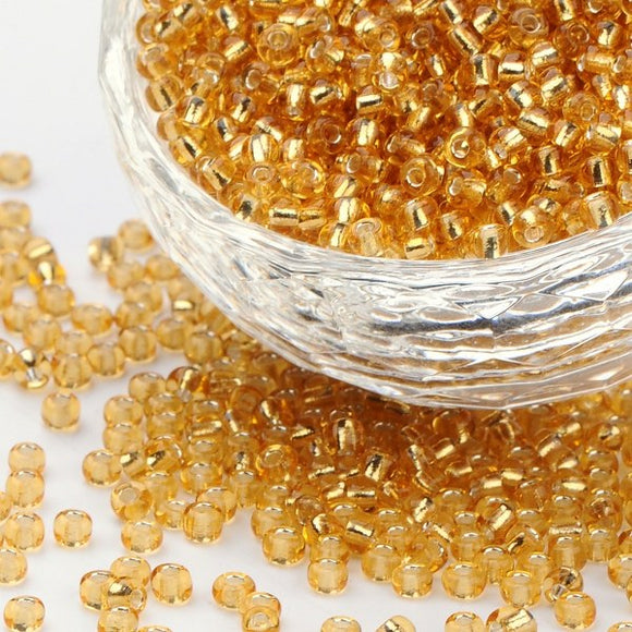 Glass Seed Bead 3mm Silver Lined Gold