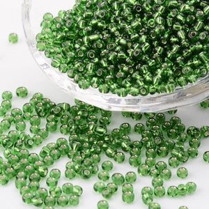 Glass Seed Bead 3mm Silver Lined Green