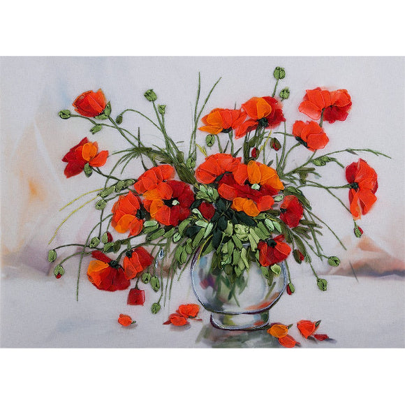 Study of Poppies Ribbon Embroidery Kit from Panna