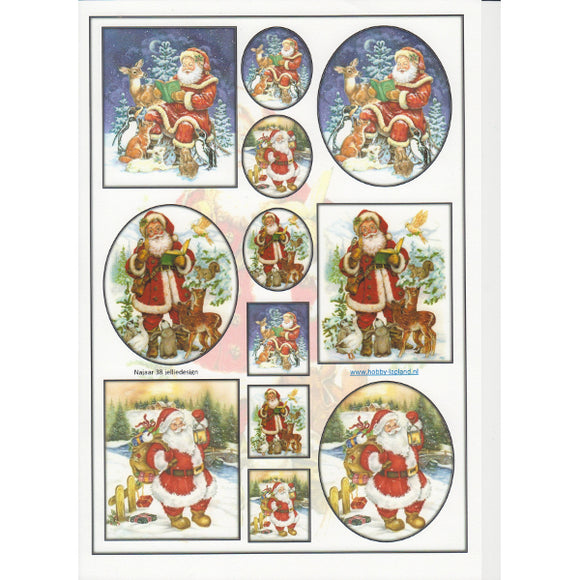 Santa with Animals Topper Sheet