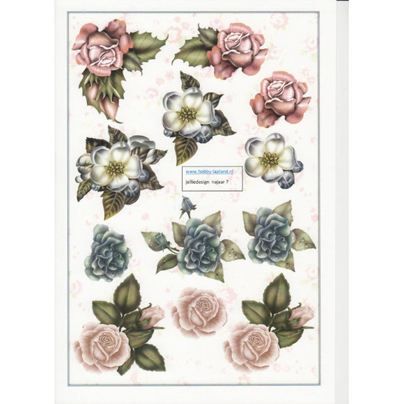 Flowers Decoupage Topper Sheet