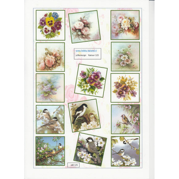 Floral & Bird Mini Topper Sheet