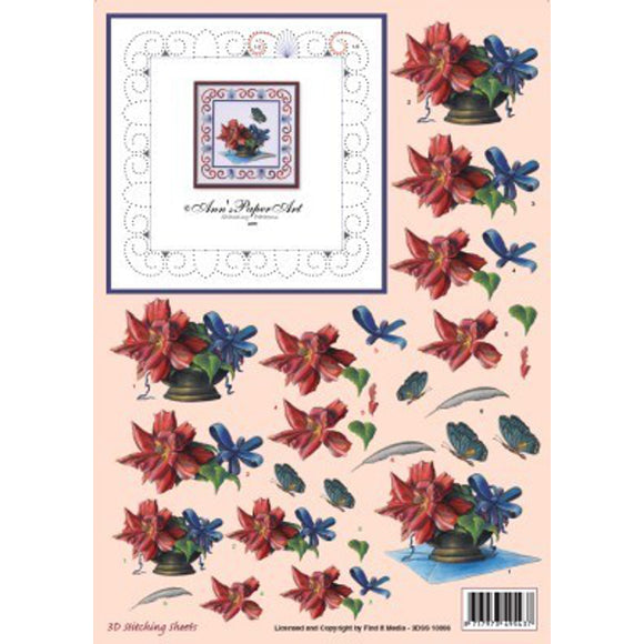 Ann's Stitching Sheet A805 with Red Flowers