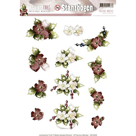 Charming Christmas Die Cut Decoupage - Flowers