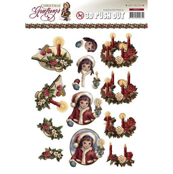 Christmas Greetings Die Cut Decoupage - Candles