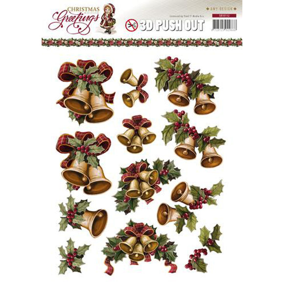 Christmas Greetings Die Cut Decoupage - Bells