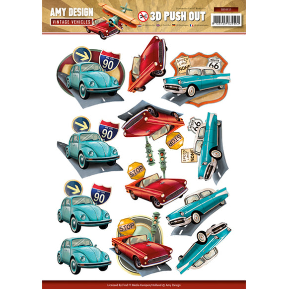 Vintage Vehicles Die Cut Decoupage - Cars
