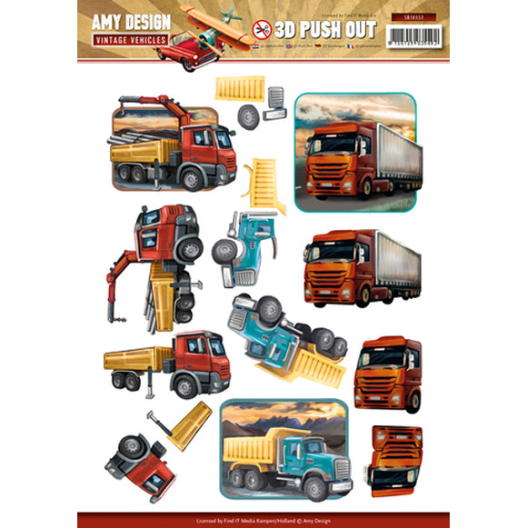 Vintage Vehicles Die Cut Decoupage - Trucks