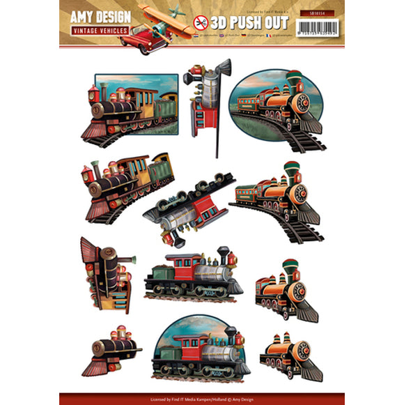 Vintage Vehicles Die Cut Decoupage - Trains
