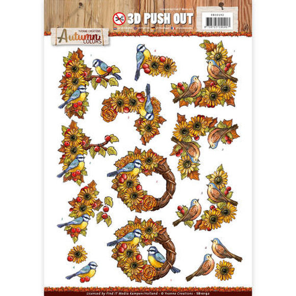 Autumn Colours Die Cut Decoupage - Birds