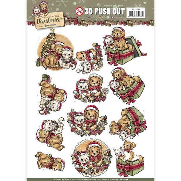 Celebrating Christmas Die Cut Decoupage - Christmas Pets