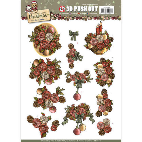 Celebrating Christmas Die Cut Decoupage - Christmas Flowers