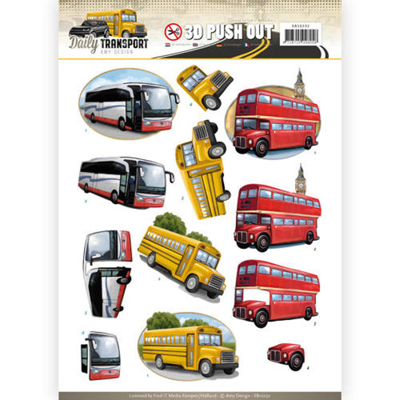 Daily Transport Die Cut Decoupage - Buses