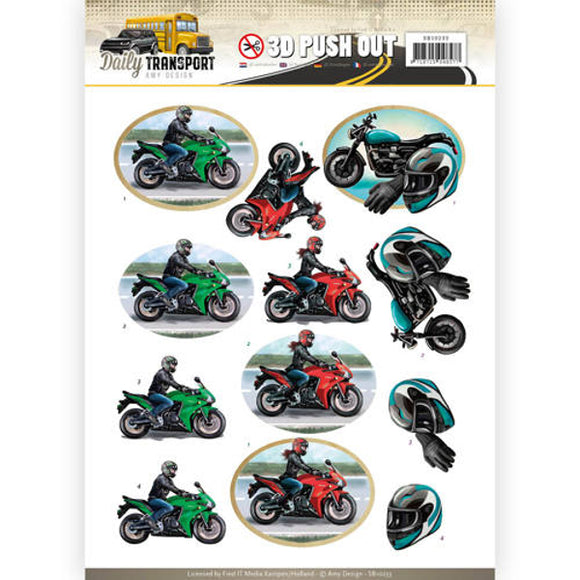 Daily Transport Die Cut Decoupage - Motorbikes