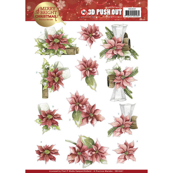 Merry & Bright Christmas Die Cut Decoupage - Poinsettia in Red