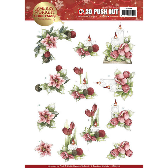 Merry & Bright Christmas Die Cut Decoupage - Candles in Red