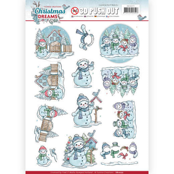 Christmas Dreams Die Cut Decoupage - Christmas Snowmen