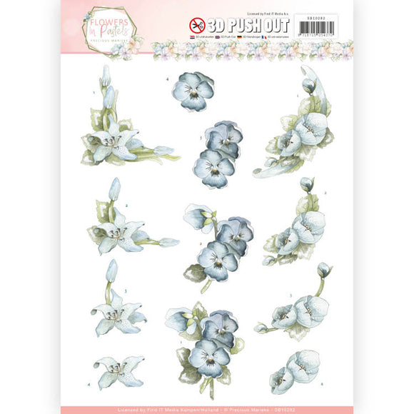 Flowers in Pastel Die Cut Decoupage - True Blue