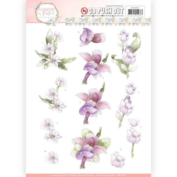 Flowers in Pastel Die Cut Decoupage - Lilac Mist