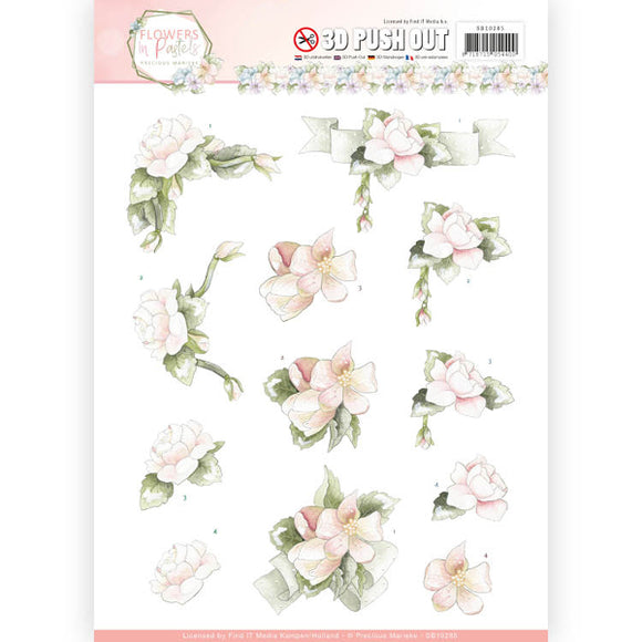 Flowers in Pastel Die Cut Decoupage - Believe in Pink