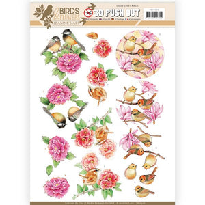 Birds & Flowers Die Cut Decoupage - Pink Birds