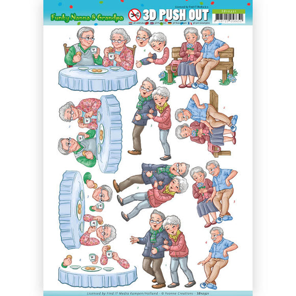 Funky Nana & Grandpa Die Cut Decoupage - Happy Together
