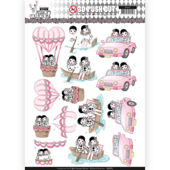 Pretty Pierrot Die Cut Decoupage - Car Trip