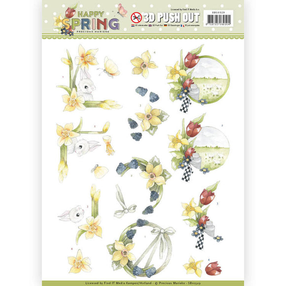Happy Spring Die Cut Decoupage - Happy Daffodils