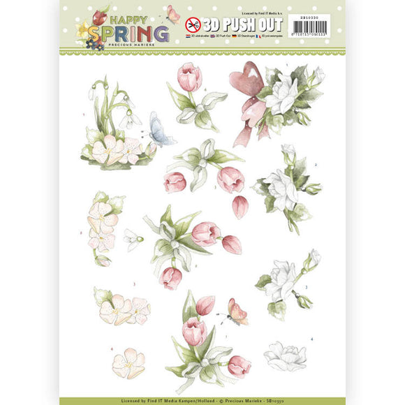 Happy Spring Die Cut Decoupage - Happy Spring Flowers