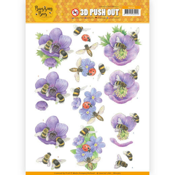 Buzzing Bees Die Cut Decoupage - Purple Flowers