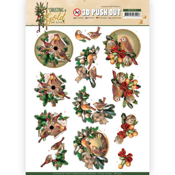 Christmas in Gold Die Cut Decoupage - Birds